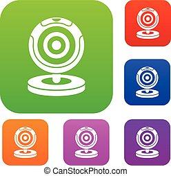 Webcam set collection - Webcam set icon in different colors...
