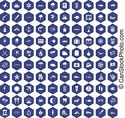 100 marine environment icons hexagon purple - 100 marine...