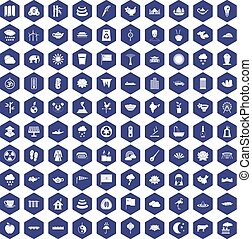 100 lotus icons hexagon purple - 100 lotus icons set in...