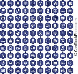100 network icons hexagon purple - 100 network icons set in...