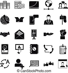 Cooperation icons set, simple style