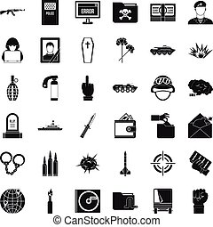 Cold war icons set, simple style - Cold war icons set....