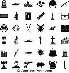 War offence icons set, simple style - War offence icons set....