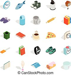 Interior icons set, isometric style