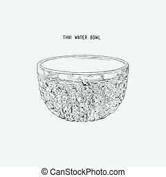 Silver water bowl for blessing in Songkran festival in Thailand