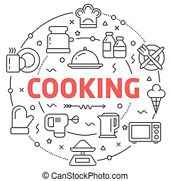 Line Flat Circle illustration cooking - White and Line Flat...