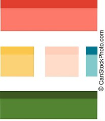 multicolor post it notes isolated on white background.
