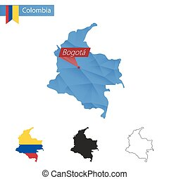 Colombia blue Low Poly map with capital Bogota. - Colombia...