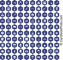 100 offence icons hexagon purple - 100 offence icons set in...