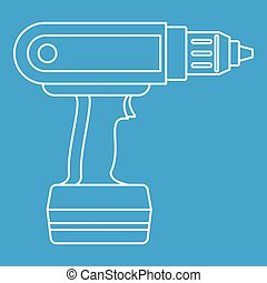 Electric screwdriver drill icon outline - Electric...