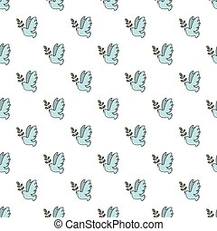 Pigeon with olive branch pattern seamless