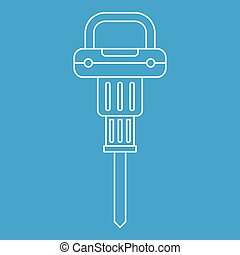 Pneumatic hammer icon outline - Pneumatic hammer icon blue...
