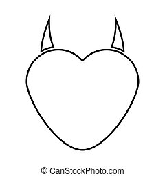 Heart with devil horn black color icon .