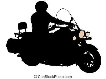 Man on motor bike three - Old big bike on white background