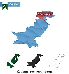 Pakistan blue Low Poly map with capital Islamabad. -...