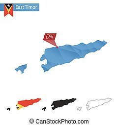 East Timor blue Low Poly map with capital Dili. - East Timor...