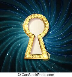 vector Golden keyhole. VIP Invitation card with sparkling...