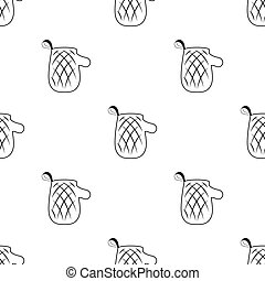 Oven glove icon in black style isolated on white background. Picnic symbol stock vector illustration.