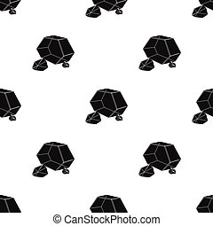Purple rough gemstone icon in black style isolated on white...