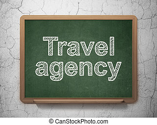 Travel concept: Travel Agency on chalkboard background -...