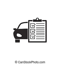 Car service list icon on white background