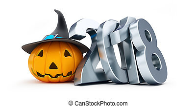 Holiday halloween in 2018 n a white background 3D...