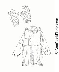 Vector set winter clothing , sketch vector.
