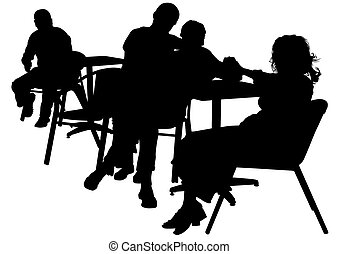 Cafe on street four - People in urban cafe on white...