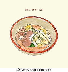 pork wonton soup , hand drawn sketch vector. - Pork wonton...