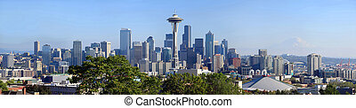 Seattle panorama at midday. - A panoramic view of the...