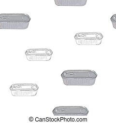 Opened and closed food tin cans, seamless pattern sketch vector.
