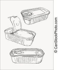 Opened and closed food tin cans, sketch vector.