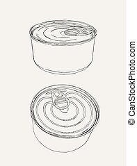 closed food tin cans, sketch vector.