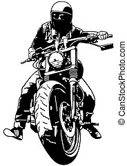 Harley Davidson and Rider - Black and White Illustration,...