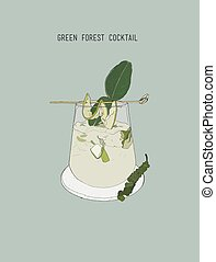 Green forest cocktail , sketch vector.. cucumber ,kaffar...