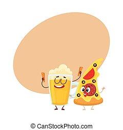 Funny beer mug and yummy pizza slice characters having fun