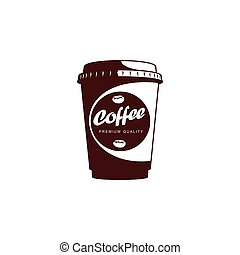 Vector disposable papper cup of coffee flat icon - Vector...