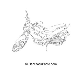 old and red motorbike sketch vector.