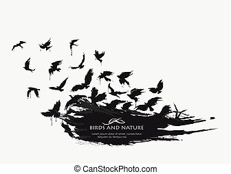 Brushstroke texture grunge with birds flying - black spot...