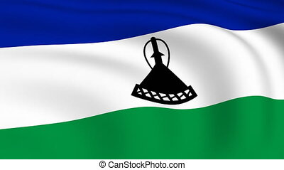 Flying Flag of LESOTHO | LOOPED |