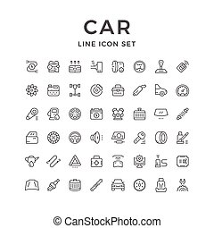 Set of car related line icons isolated on white. Vector...