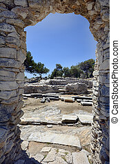 Greece, Thassos Island, archway in public archealogical site...