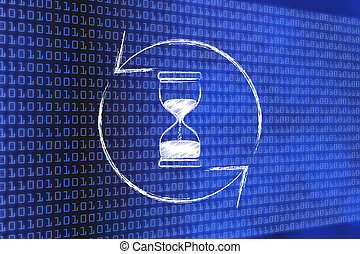 hourglass and refresh symbol made of spinning arrows -...