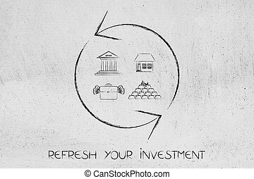 refresh symbol with different investment icons - refresh...