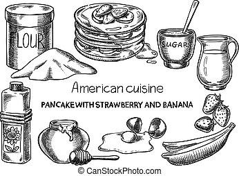 American cuisine. - Creative conceptual vector. Sketch hand...