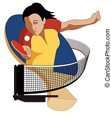 table tennis player female hitting ball, with paddle in...