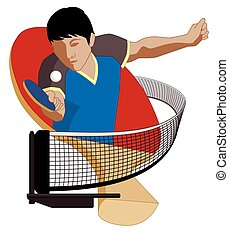 table tennis player male hitting ball, with paddle in...