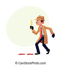 Detective character following, tiptoeing after somebody with...