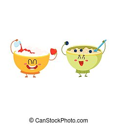 Two funny bowl characters - cottage cheese, oatmeal...