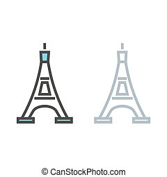 Eiffel Tower in Paris. Travel vector icon